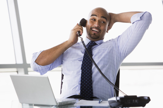 Businessman taking phone call
