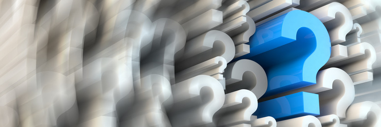 3d rendered question marks - panoramic ratio (websie banner dimensions)